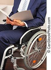 επιχειρηματίας , εργαζόμενος , μέσα , ένα , αναπηρική καρέκλα