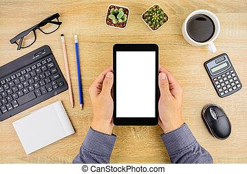 επιχειρηματίας , εργαζόμενος , με , δισκίο , και , smartphone, επάνω , ακολουθία αναλόγιο , .