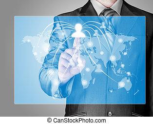 επιχειρηματίας , εργαζόμενος , με , καινούργιος , μοντέρνος , ηλεκτρονικός υπολογιστής , δείχνω