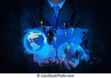 επιχειρηματίας , εργαζόμενος , με , καινούργιος , μοντέρνος , ηλεκτρονικός υπολογιστής , δείχνω , κοινωνικός , δίκτυο , δομή