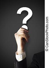 επιχειρηματίας , ερώτηση , κράτημα , σημαδεύω