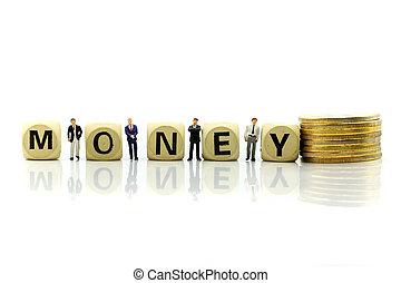 επιχειρηματίας , θημωνιά , κέρματα , χρήματα , ανάπτυξη , άγαρμπος κορμός , people:, οικονομικός , concept., μινιατούρα , επιχείρηση