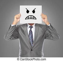 επιχειρηματίας , θυμωμένος , μάσκα