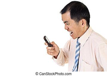 επιχειρηματίας , θυμωμένος , cellphone