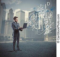 επιχειρηματίας , και , internet , γενική ιδέα