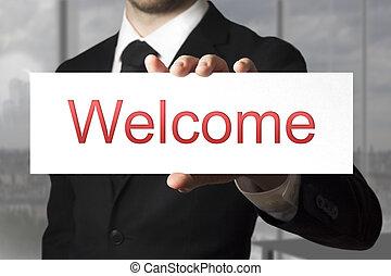 επιχειρηματίας , καλωσόρισμα , κράτημα , σήμα