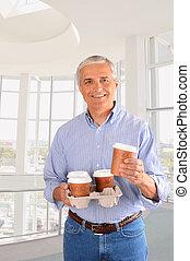 επιχειρηματίας , καφέs , δίσκος