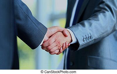 επιχειρηματίας , κλονισμός , δυο , hands.
