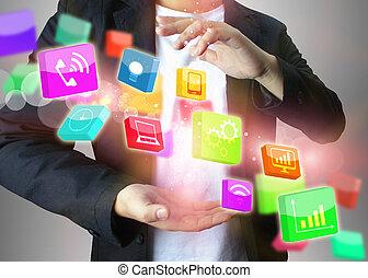 επιχειρηματίας , κοινωνικός , κράτημα , μέσα ενημέρωσης