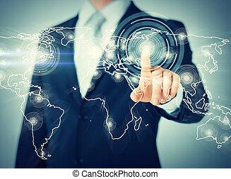 επιχειρηματίας , κουμπί , αντίτυπο δίσκου , επαφή