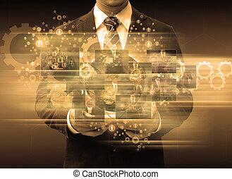 επιχειρηματίας , κράτημα , δισκίο , τεχνολογία , αρμοδιότητα αντίληψη