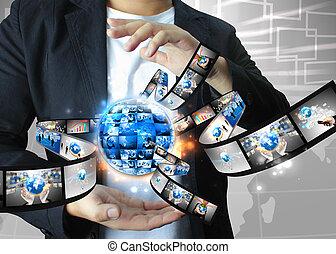 επιχειρηματίας , κράτημα , επιχείρηση , κόσμοs