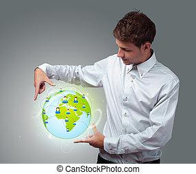επιχειρηματίας , κράτημα , κατ' ουσίαν καίτοι όχι πραγματικός , eco, σήμα