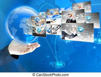 επιχειρηματίας , κράτημα , κόσμοs , .technology, γενική ιδέα