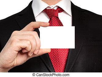 επιχειρηματίας , μέσα , ένα , κουστούμι , κράτημα , ένα , άσπρο , επαγγελματική κάρτα