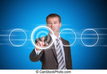επιχειρηματίας , μέσα , ένα , κουστούμι , στίξη , αυτήν , δάκτυλο , σε , ο , αδειάζω , κύκλοs , κορνίζα