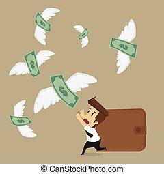 επιχειρηματίας , μακριά , αγοραία άμαξα λεφτά