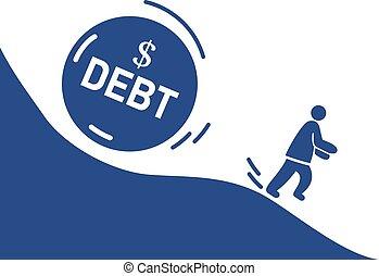 επιχειρηματίας , μακριά , τρέξιμο , μήνυμα , μεγάλος , πέτρα , debt.