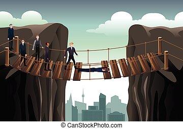 επιχειρηματίας , μερίδα φαγητού , δικός του , συνάδελφος , διάβαση άρθρο γέφυρα , για , ομαδική εργασία
