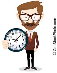 επιχειρηματίας , μικροβιοφορέας , ρολόι , κράτημα , εικόνα