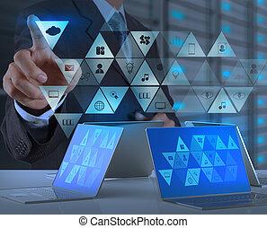 επιχειρηματίας , μοντέρνος τεχνική ορολογία , εργαζόμενος , χέρι