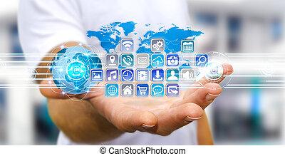 επιχειρηματίας , μοντέρνος , ψηφιακός , χρησιμοποιώνταs , εφαρμογές