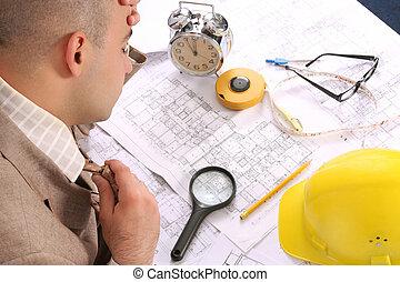 επιχειρηματίας , νυσταγμένο , διάγραμμα , αρχιτεκτονικός