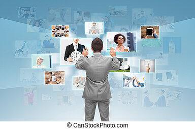 επιχειρηματίας , οθόνη , εργαζόμενος , κατ' ουσίαν καίτοι ...