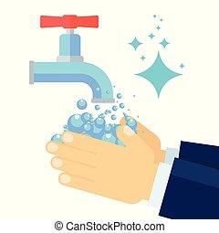 επιχειρηματίας , πλύση , χέρι