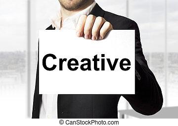 επιχειρηματίας , σήμα , κράτημα , δημιουργικός