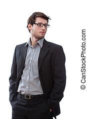 επιχειρηματίας , σοβαρός , βάζω σε τσέπη , ανάμιξη