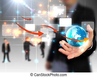 επιχειρηματίας , συνδεδεμένος , κράτημα , κόσμοs