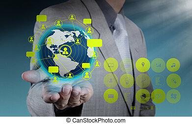 επιχειρηματίας , χέρι , αμπάρι , κοινωνικός , δίκτυο
