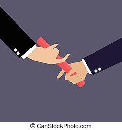 επιχειρηματίας , χέρι , διάβαση άρθρο κλομπ , μέσα , ένα ,...
