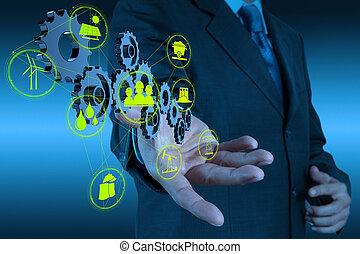 επιχειρηματίας , χέρι , ενδυμασία , επιτυχία , δείχνω