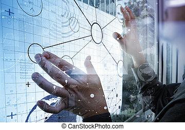 επιχειρηματίας , χέρι , εργαζόμενος , με , μοντέρνος τεχνική ορολογία , και , ψηφιακός , επίπεδο , αποτέλεσμα , επειδή , αρμοδιότητα στρατηγική , γενική ιδέα