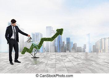 επιχειρηματίας , ότι , άρδευση , ένα , εργοστάσιο , με , ένα , σχήμα , από , arrow., γενική ιδέα , από , ακμάζω , από , εταιρεία , οικονομία , .