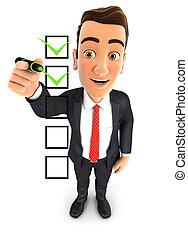 επιχειρηματίας , 3d , checklist