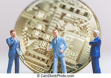 επιχειρηματίας , bitcoin, αντέχω , χαρτονομίσματα , ψηφιακός , μορφή , (cryptocurrency), μινιατούρα , people:
