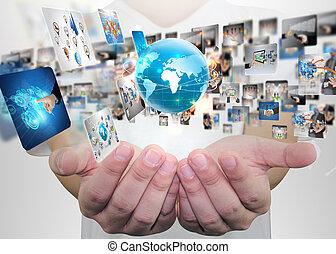 επιχειρηματίας , concept., κοινωνικός , κράτημα , μέσα ενημέρωσης