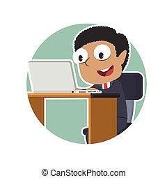 επιχειρηματίας , laptop , κύκλοs , αφρικανός