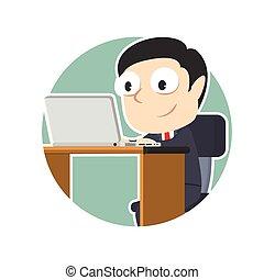 επιχειρηματίας , laptop , κύκλοs