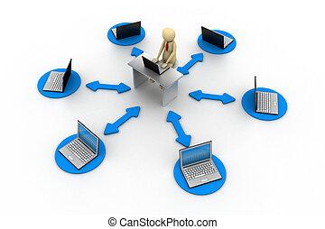 επιχειρηματίας , laptop , 3d