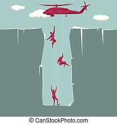 επιχειρηματίας , rescue., έπεσα , αναμονή , παγίδα