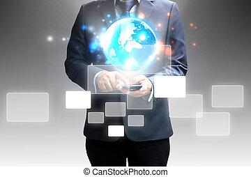 επιχειρηματίας , touchscreen, κράτημα