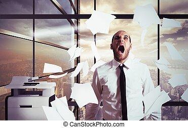 επιχειρηματίας , yells, δίνω έμφαση