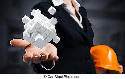 επιχειρηματίαs γυναίκα , αμπάρι , κύβος , 3d , αφαιρώ , βάγιο