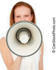επιχειρηματίαs γυναίκα , αναθέτω διαταγές , μεγάφωνο