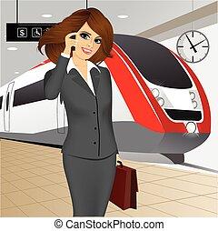 επιχειρηματίαs γυναίκα , αναμονή , τρένο