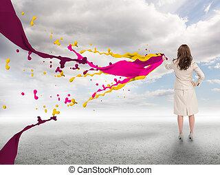 επιχειρηματίαs γυναίκα , βουτιά , δημιουργικός , απεικονίζω